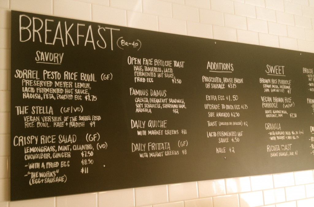 The casual chalkboard menu.