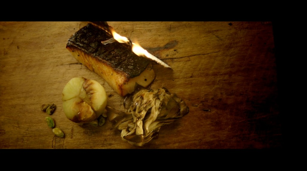 A still from Gab's film on Hinoki & the Bird. Black cod scented with burning hinoki wood.