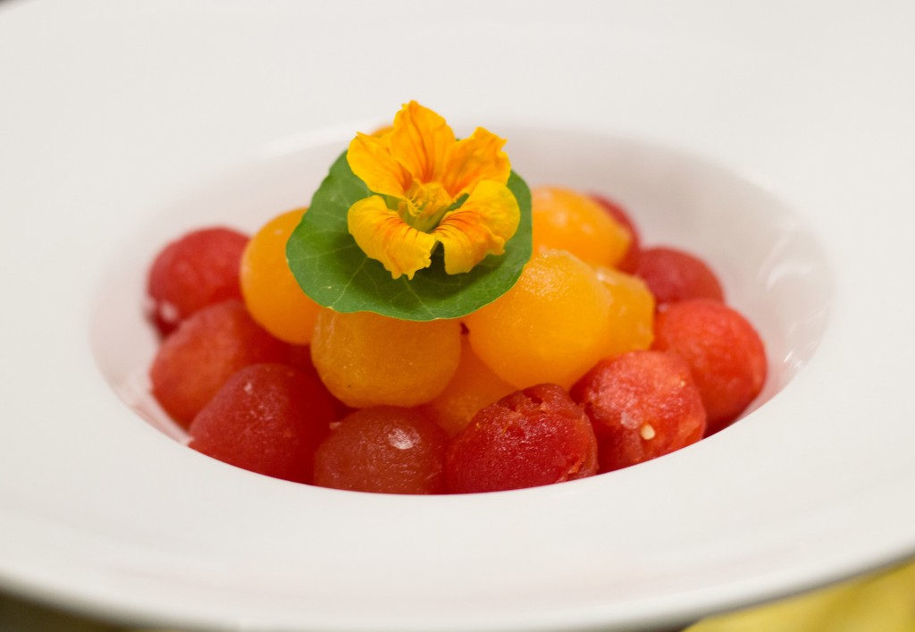 Compressed watermelon and cantaloupe with sea salt