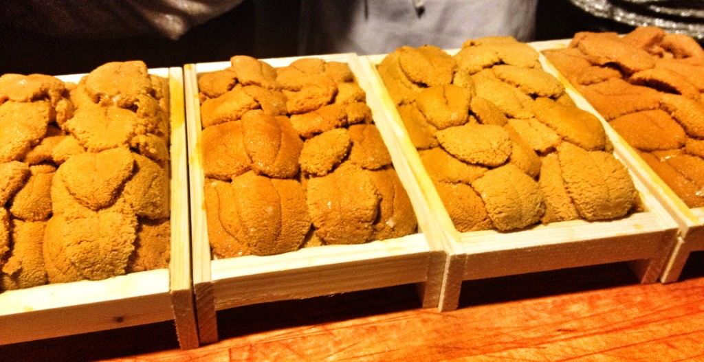 Uni (sea urchin) at Sushi Belly Tower Los Angeles